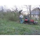 Création d'un accès chantier avec tracteur à chenilles et broyeur fore